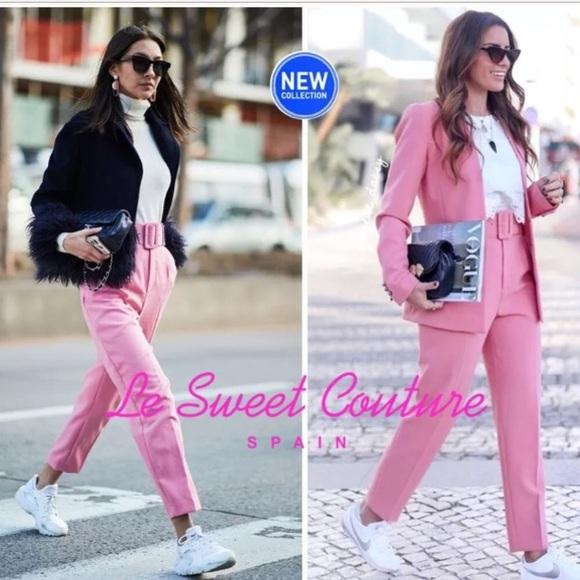 1dabdadd Zara Pants | Blogger Favorite Pink Trouser With Belt | Poshmark